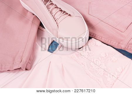 Womanly Clothing And Accessories, Pink Leather Shoes, Shirt And Pants