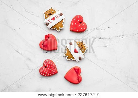 Sweet Gift For St Valentine's Day. Heart Shaped Gingerbread On Light Grey Background Top View Copy S