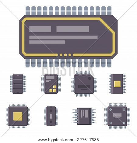 Cpu Microprocessors Microchip Isolated Vector Illustration. Hardware Component Equipment. Integrated