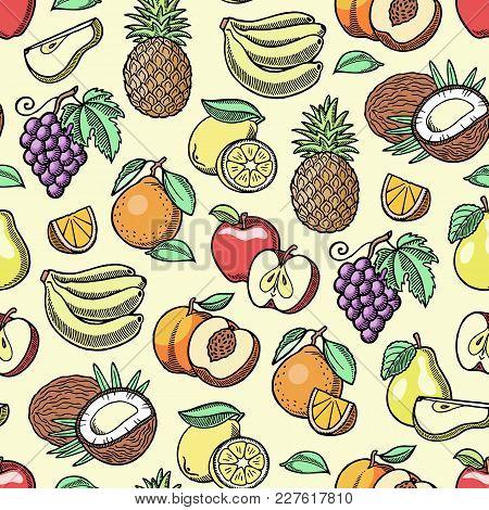 Fruits Vector Fruity Apple Banana And Exotic Papaya Handmade Sketch Old Retro Vintage Graphic Style
