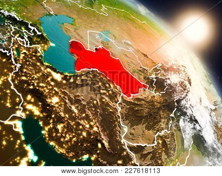Turkmenistan From Space During Sunrise