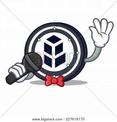 Singing Bancor Coin Mascot Cartoon Vector Illustration