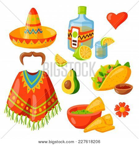 Mexico Icons Vector Illustration. Latino Party Nachos, Taco Spesialy Food. Traditional Graphic Trave