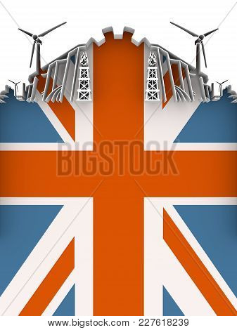Energy And Power Cutout Silhouette. Sustainable Energy Generation And Heavy Industry. Flag Of The Br