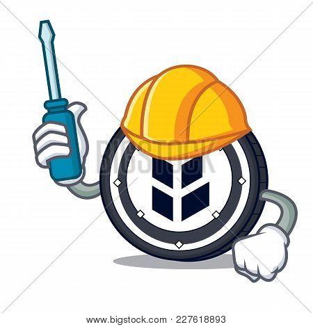 Automotive Bancor Coin Mascot Cartoon Vector Illustration