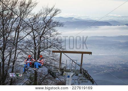 Zagreb, Croatia - January 4,2018 : Ski Staff Is Transported With A Chair Lift On The Fis Alpine Ski