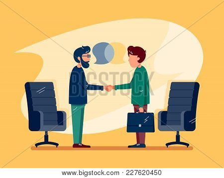Business Conversation At Meeting. Two Men Make Deal. Vector Illustration