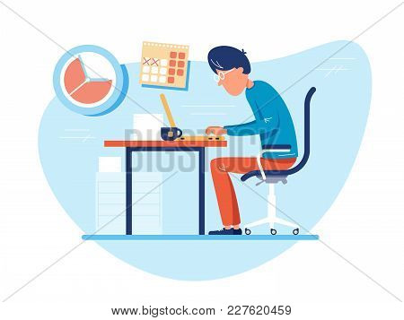 Working Time At Workplace. Man Works At Computer. Vector Illustration