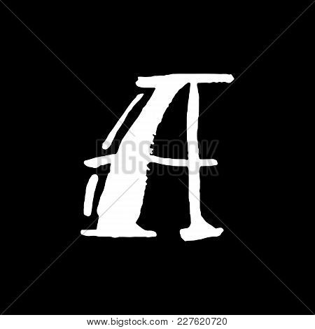 Letter A. Handwritten By Dry Brush. Rough Strokes Textured Font. Vector Illustration. Grunge Style V