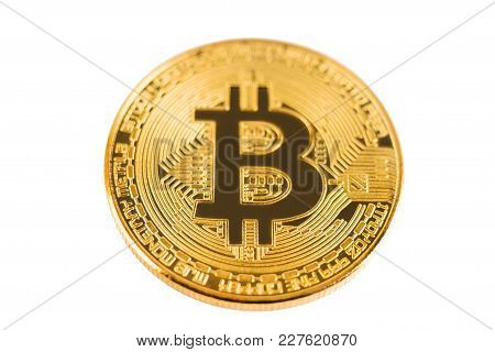 Shiny Golden Bitcoin On White Background, Selective Focus