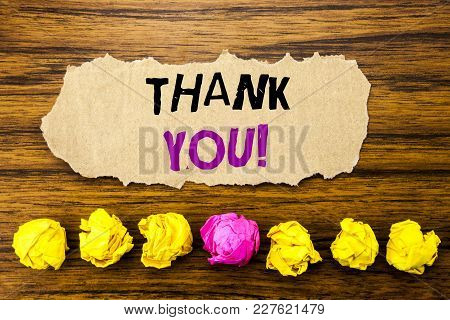 Handwriting Text   Thank You. Concept For Thanks Message Written On Sticky Paper Reminder, Wooden Ba