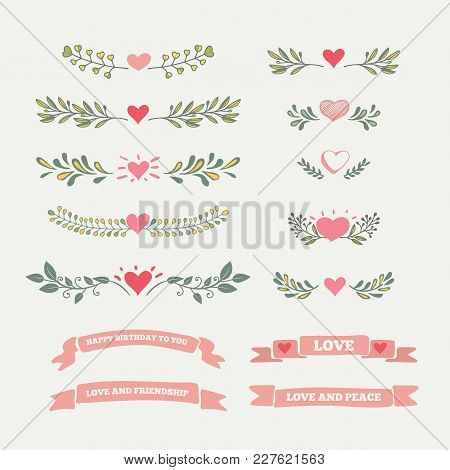 Collection Of Flourishes Calligraphic Ornaments. Beautiful Design Elements, Decorations For Postcard
