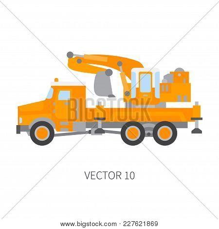 Color Plain Vector Icon Construction Machinery Truck Excavator. Industrial Retro Style. Corporate Ca