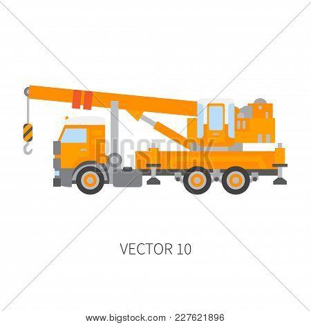 Color Plain Vector Icon Construction Machinery Truck Auto Crane. Industrial Retro Style. Corporate C