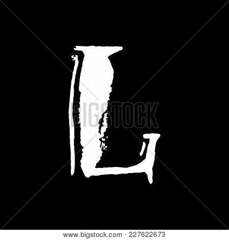 Letter L. Handwritten By Dry Brush. Rough Strokes Textured Font. Vector Illustration. Grunge Style V