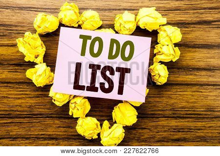 Word, Writing To Do List. Business Concept For Plan Lists Remider Written On Sticky Note Paper On Wo