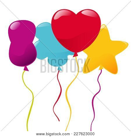 Vector Multicolored Balloons Of Different Shapes. Vector Balloons.