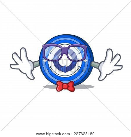 Geek Cryptonex Coin Character Cartoon Vector Illustration