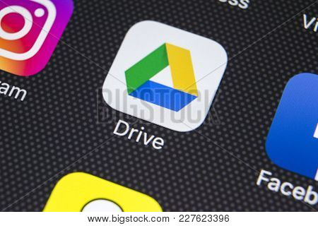Sankt-petersburg, Russia, February 20, 2018: Google Drive Application Icon On Apple Iphone X Screen