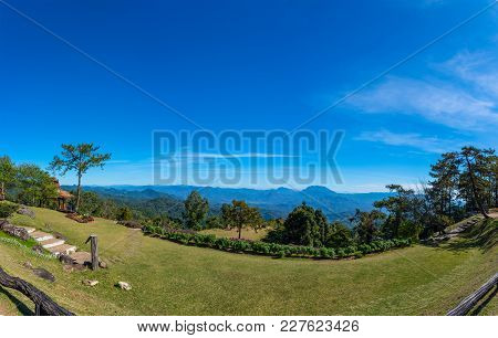 Panorama View Of Huai Nam Dang National Park In Clear Blue Sky Sunny Day In Chiangmai Of Thailand