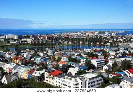 Roof tops of the capital city of Iceland, Reykjavik.