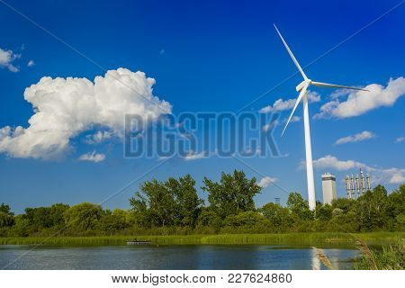 Wind Power Generating Stations In The Park Of Pickering, Ontario