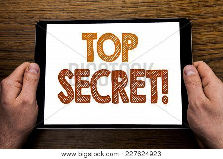 Hand Writing Text Caption Top Secret. Business Concept For Military Top Secret Written Tablet Laptop