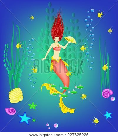Underwater World, Little Mermaid, Fishes, Seashells Plants And A Pearl, Vector Illustration