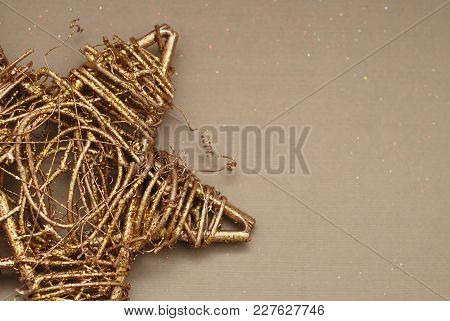 Golden Star For Decorated Christmas Tree On
