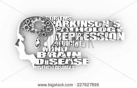 Abstract Illustration Of A Human Head. Woman Face Silhouette. Medical Theme Creative Concept. Parkin