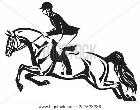 Horse And Rider Jumping Over A Fence.equestrian Stadium Showjumping .black And White Side View Isola