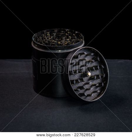 Medical Marijuana And Black Grinder