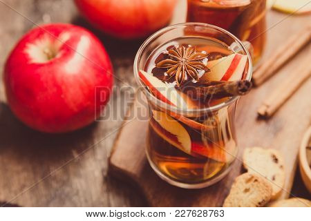 Hot Spicy Beverage. Hot Drink (apple Tea, Punch) With Cinnamon Stick And Star Anise. Seasonal Mulled