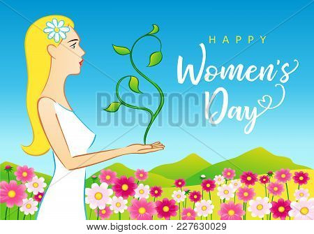 8 March, Happy Womens Day Beautiful Woman Greeting Card. Vector Illustration For The International W