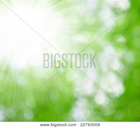natural background blurring with sun rays poster