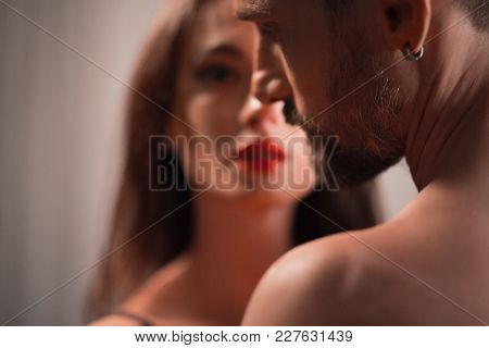 Close Up Image Of Two Beautiful Belovers. Passion Concept.