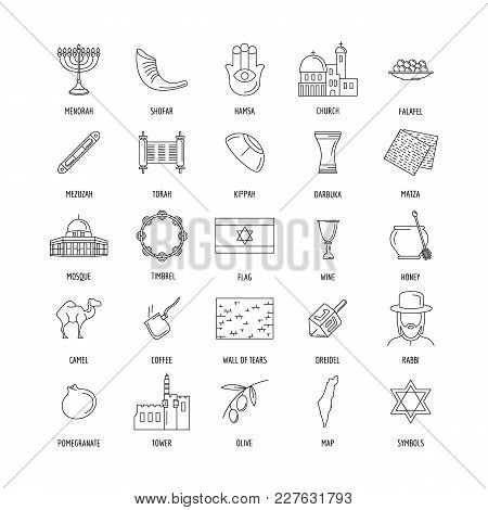 Israel Culture And Traditions Outline Icons Set. Israel Objects Vector Illustration Isolated On Whit