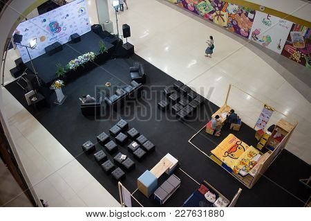 Chiang Mai, Thailand - February 20 2018: Stage For Mini Conference Of Funiture Design Thesis Of Raja