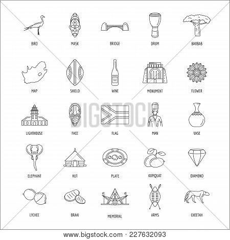 South Africa Culture And Traditions Outline Icons Set. South Africa Objects Vector Illustration Isol
