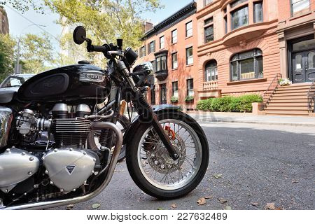New York City, Usa - Aug. 27: Triumph Motorcycle On Street On August 27, 2017 In New York City, Ny.