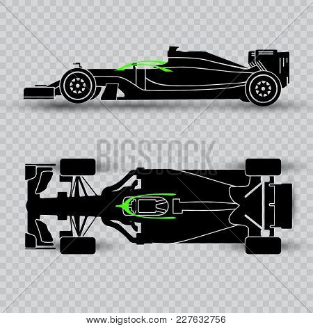 System Of Pilot Defense Of A Sports Car, Dark Silhouette Of A Racing Car Isolated On Checkered Backg
