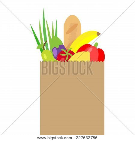 Vector Illustration Of Paper Package With Fresh Healthy Produce. Organic Products From The Farm. Veg