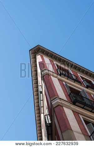 Madrid, Spain - July 2, 2017: Low Angle View Of Old Building In Historic Centre Of Madrid.