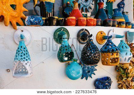 Traditional Cretan Painted Ceramic Dishes, Crete, Greece