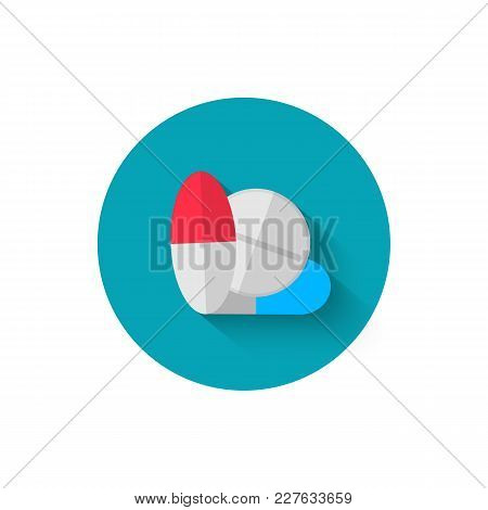 Tablets Icon, Illustrated In Flat Design Style Vector Illustration. Modern Icon Of Medicine. Website