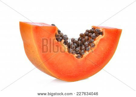 Sliced Ripe Papaya Isolated On White Background