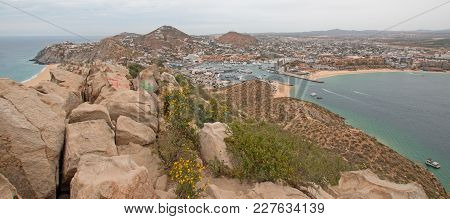 View Of Pacific Ocean And Sea Of Cortes And Cabo San Lucas Marina As Seen From The Top Of The Mount