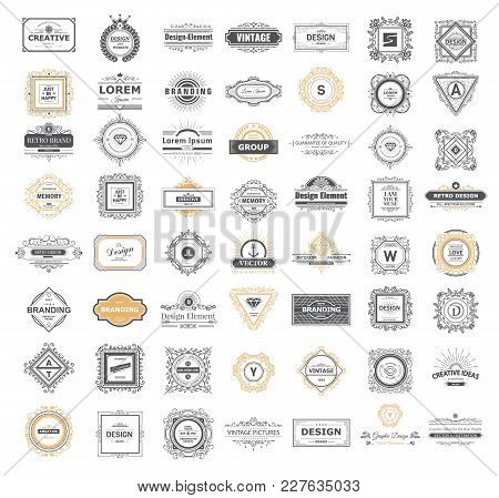 Set Luxury Monogram Logo Template With Flourishes Ornament Elements. Elegant Design For Business Sig