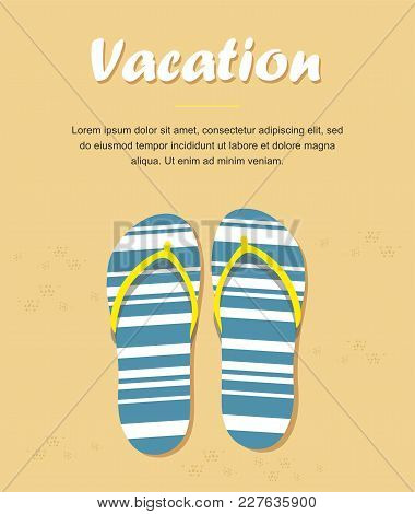 Slippers Or Flip Flops On Beach Sand. Summer Vacation