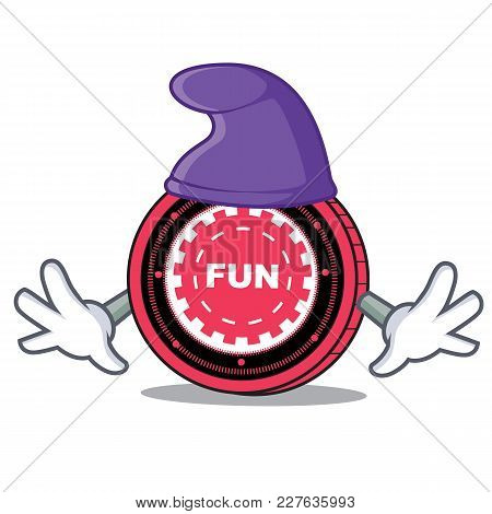 Elf Funfair Coin Character Cartoon Vector Illustration